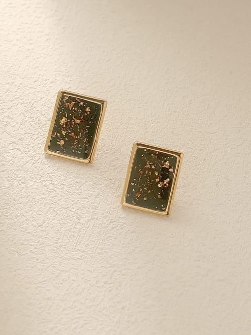 14L gold Brass Geometric Vintage Stud Earring