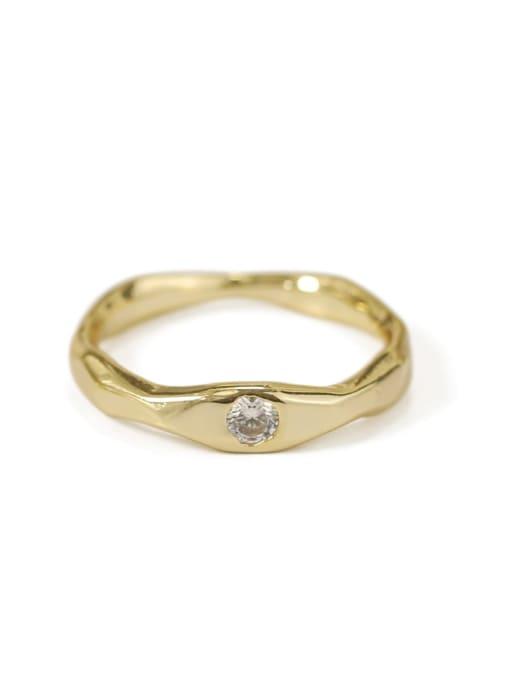 White zircon coarse Brass Cubic Zirconia Geometric Minimalist Band Ring