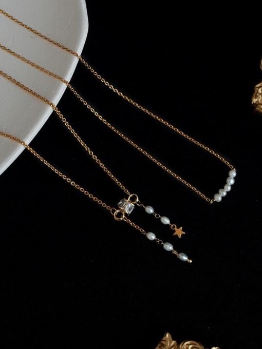 Five Color Brass Imitation Pearl Tassel Vintage Necklace 2