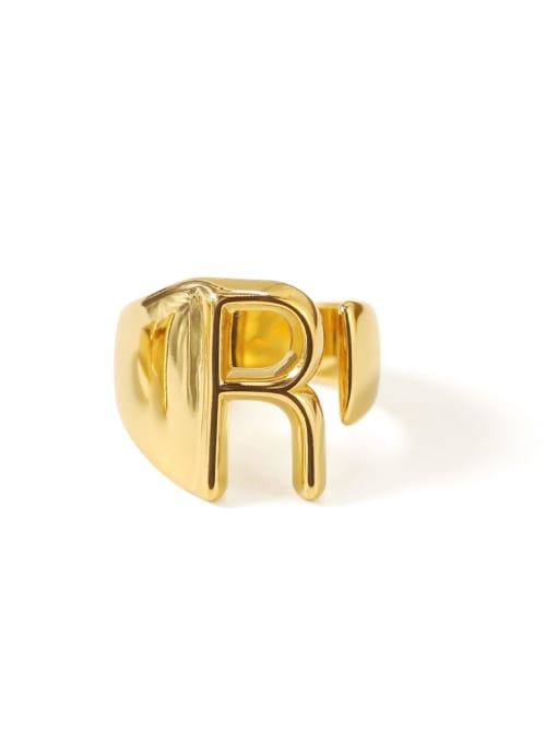 R Brass  26 Letter Vintage Band Ring