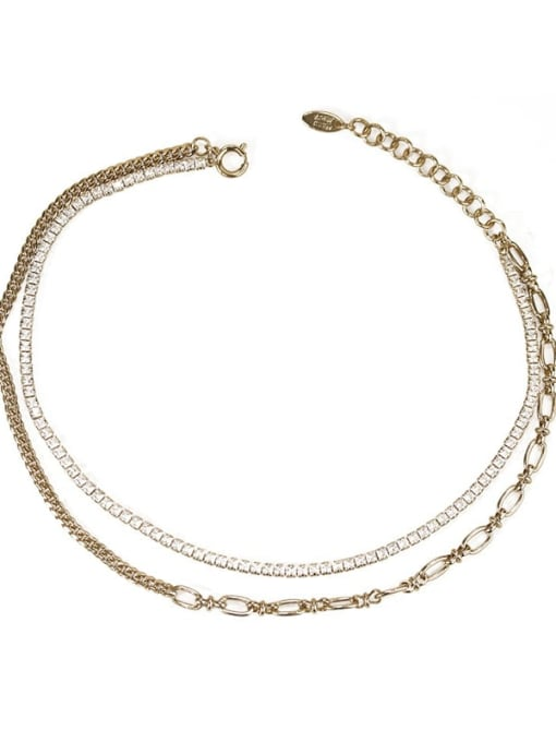 ACCA Brass Cubic Zirconia Geometric Vintage Multilayer Necklace 3