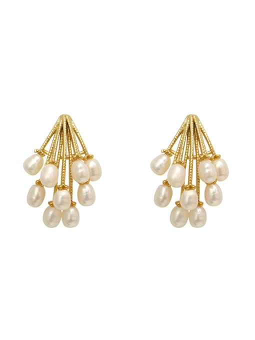 HYACINTH Copper Imitation Pearl Geometric Vintage Stud Earring 3