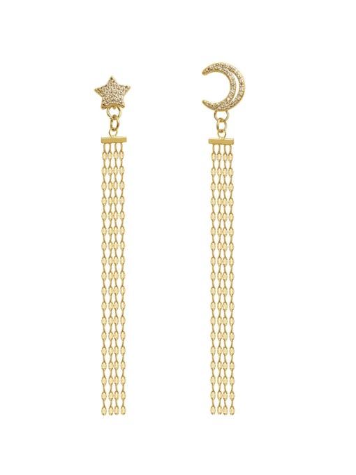 14K  gold Copper  Moon Star  Tassel Vintage Threader Earring
