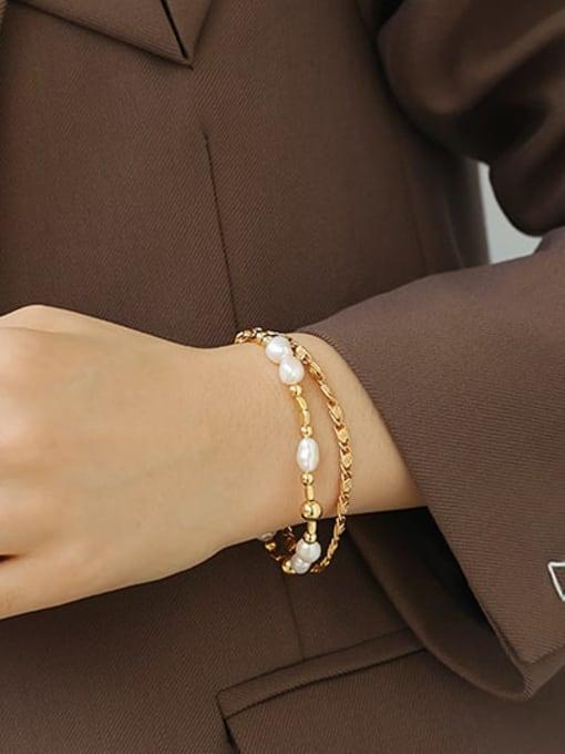 ACCA Brass Imitation Pearl Geometric Hip Hop Strand Bracelet 2