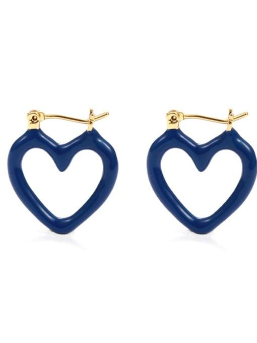Love ear buckle Brass Enamel Heart Minimalist Huggie Earring