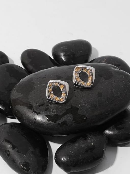 TINGS Brass Rhinestone Geometric Hip Hop Stud Earring 3