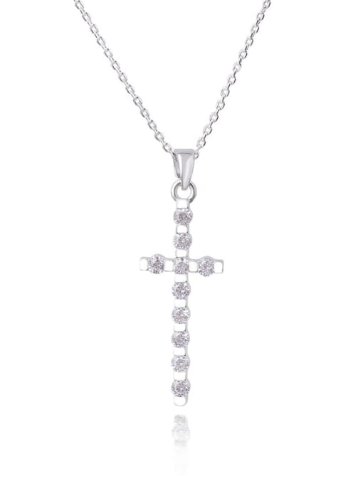 YILLIN Brass Cubic Zirconia Cross Dainty Regligious Necklace 0