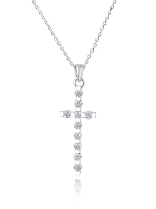 YILLIN Brass Cubic Zirconia Cross Dainty Regligious Necklace