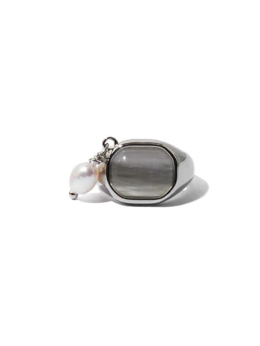 Silver (sold separately) Brass Cats Eye Geometric Vintage Single No pierced ear clip
