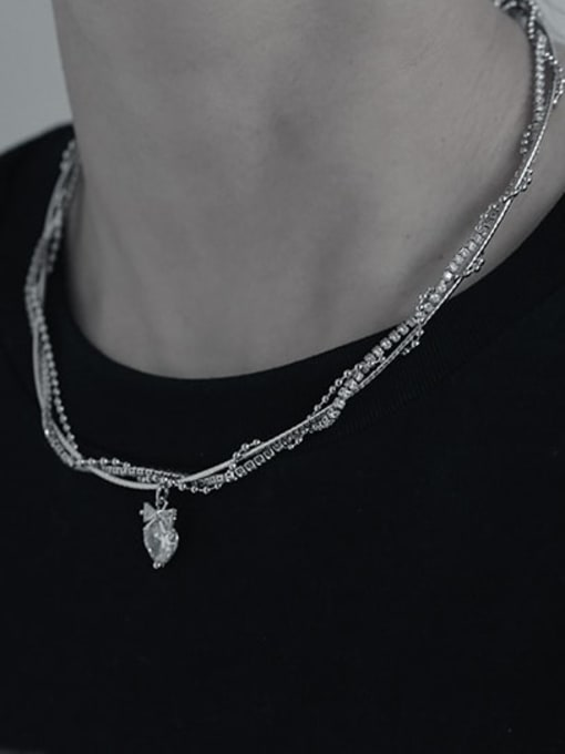 TINGS Brass Cubic Zirconia Heart Vintage Multi Strand Necklace 1