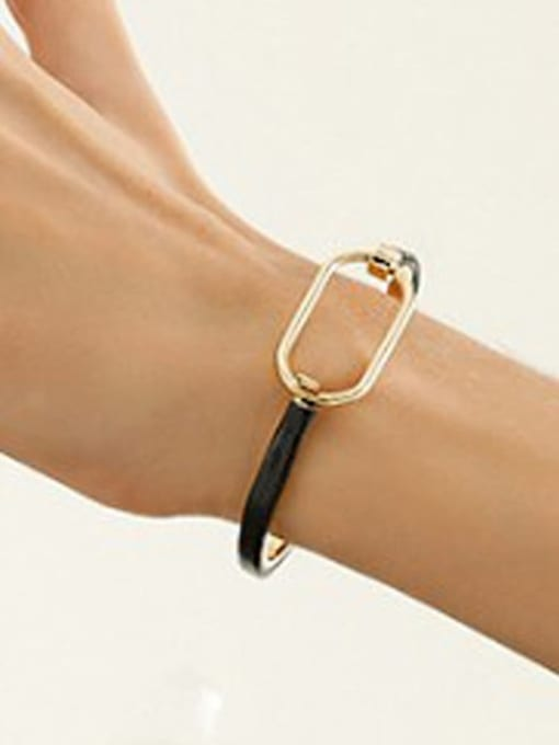 Desoto Brass Leather Geometric Minimalist Bracelet 2