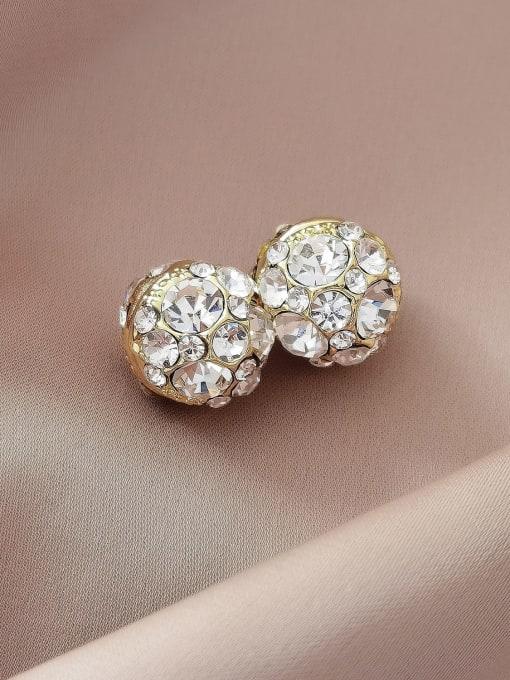 14k Gold Brass Rhinestone Geometric Minimalist Stud Earring