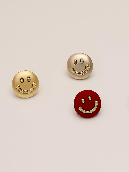 HYACINTH Brass Smiley Minimalist Stud Earring 0