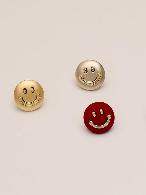 HYACINTH Brass Smiley Minimalist Stud Earring