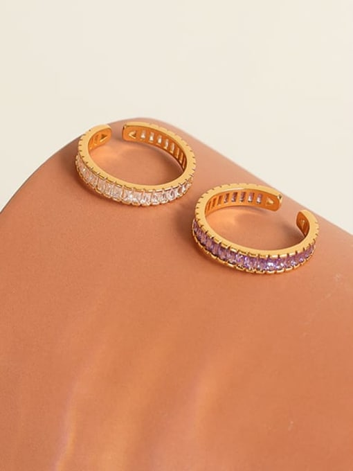 Five Color Brass Cubic Zirconia Geometric Minimalist Band Ring 0
