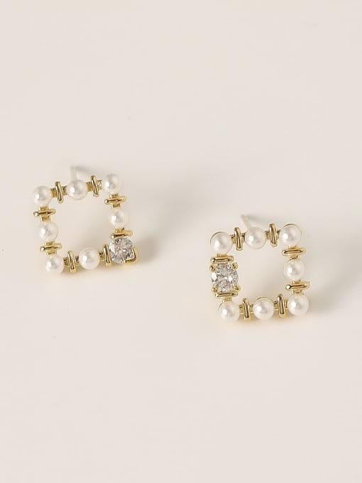 HYACINTH Brass Imitation Pearl Geometric Minimalist Stud Earring 2
