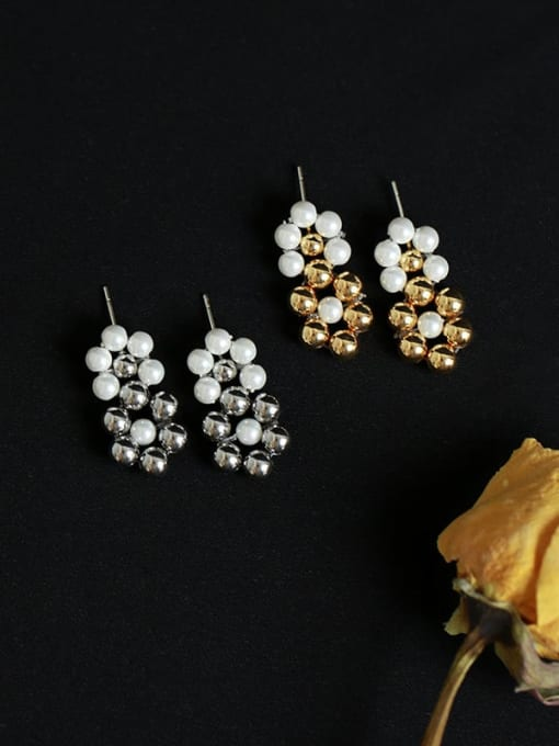 Five Color Brass Bead Geometric Vintage Drop Earring