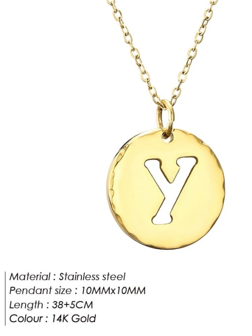 Y Titanium Steel Letter Minimalist Round Pendant Necklace