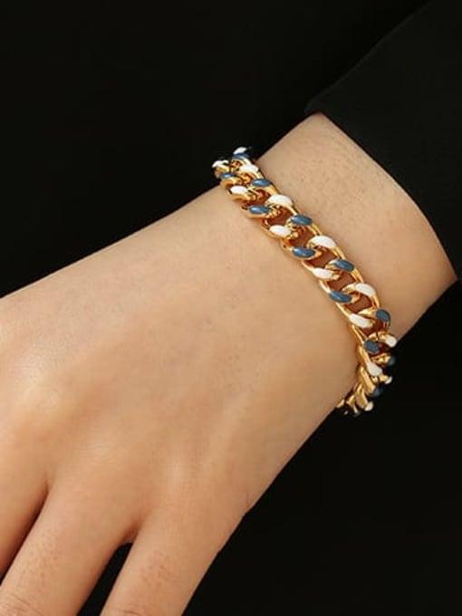 ACCA Brass Geometric Vintage Link Bracelet 0