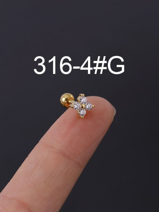 4G Stainless steel with Cubic Zirconia Ear Bone Nail/Puncture Earring
