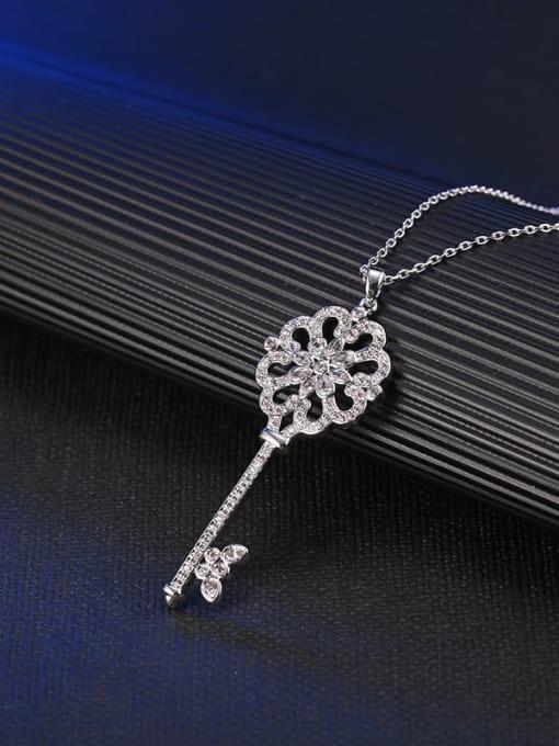 YILLIN Brass Cubic Zirconia Key Minimalist Necklace 1