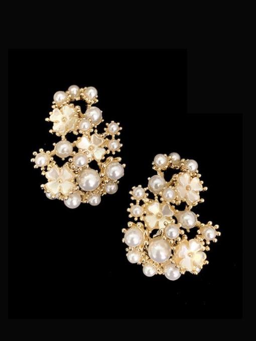 SUUTO Brass Imitation Pearl Flower Hip Hop Stud Earring