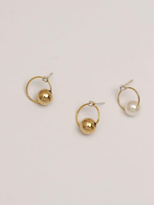 HYACINTH Brass Imitation Pearl Geometric Minimalist Drop Earring 3