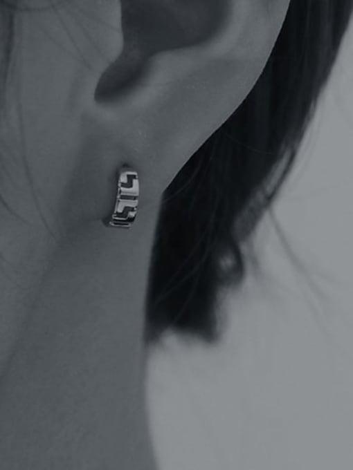 TINGS Brass Hollow Geometric Hip Hop Huggie Earring 1