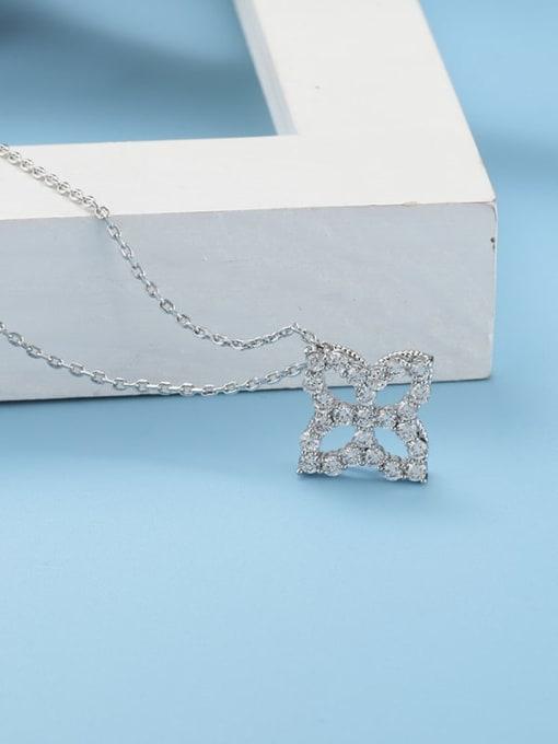 platinum Brass Cubic Zirconia Minimalist Clover  Pendant Necklace