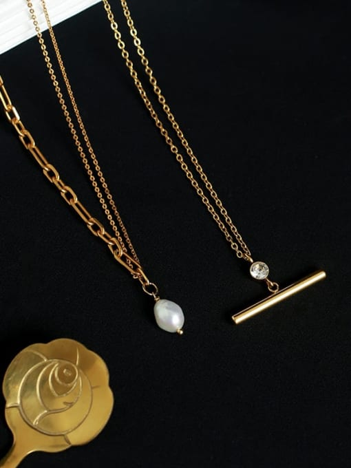 Five Color Brass Imitation Pearl Geometric Vintage Necklace