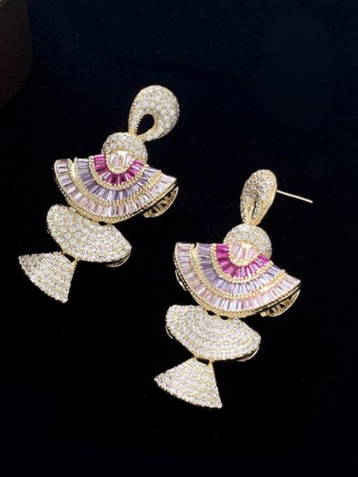 SUUTO Brass Cubic Zirconia Geometric Luxury Drop Earring
