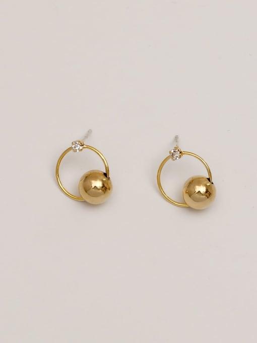 14K true gold copper bead Brass Imitation Pearl Geometric Minimalist Drop Earring