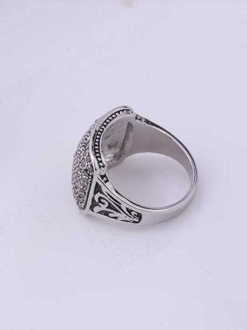 HISON Alloy Cubic Zirconia Geometric Vintage Band Ring 3