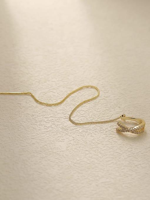 14k Gold Brass Cubic Zirconia Tassel Minimalist Threader Trend Korean Fashion Earring