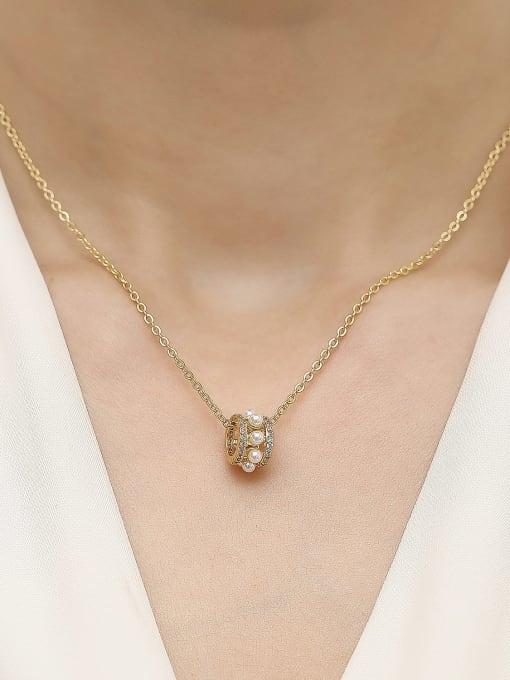 HYACINTH Brass Cubic Zirconia Geometric Vintage Trend Korean Fashion Necklace 1