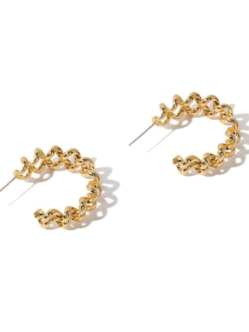 golden Brass Geometric Minimalist  C shape Stud Earring