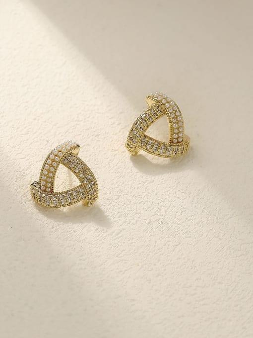 14k Gold Brass Cubic Zirconia Triangle Minimalist Stud Earring