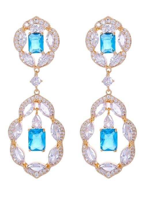 blue Brass Cubic Zirconia Geometric Luxury Drop Earring