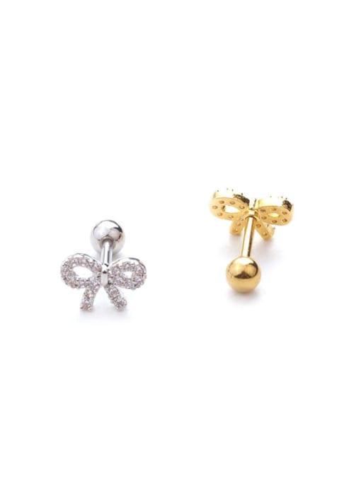 HISON Brass Cubic Zirconia Bowknot Cute Stud Earring(Single) 4