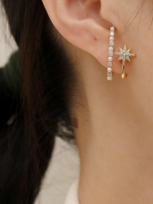 HYACINTH Brass Imitation Pearl Geometric Trend Stud Earring 1