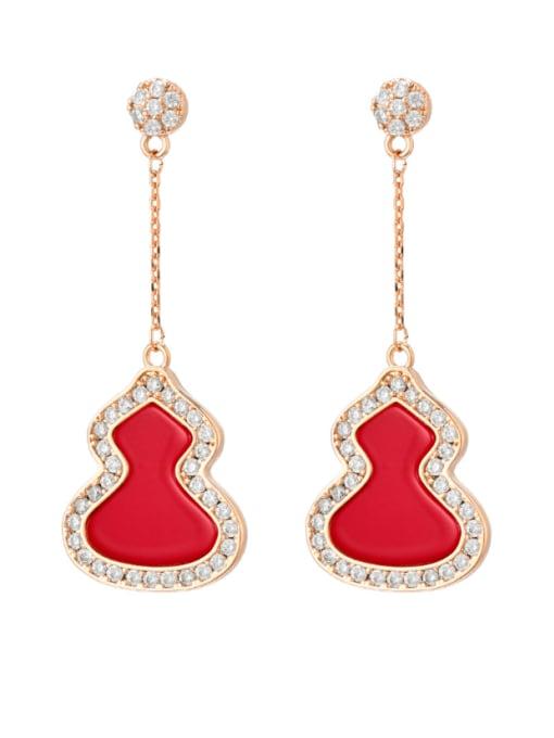 red Brass Enamel Irregular Minimalist Threader Earring