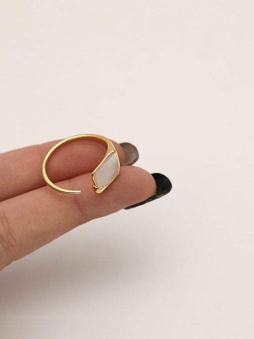 HYACINTH Brass Shell Geometric Minimalist Band Ring 1