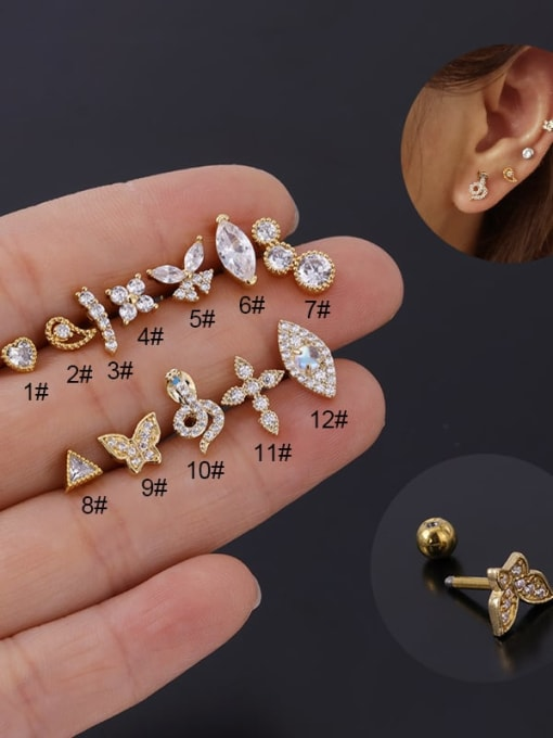 HISON Stainless steel with Cubic Zirconia Ear Bone Nail/Puncture Earring