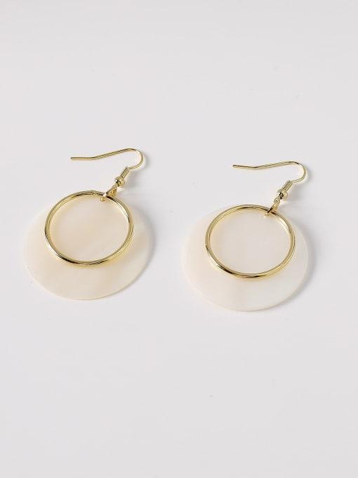 14k Gold Brass Shell Geometric Minimalist Hook Earring
