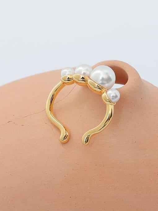 Five Color Brass Imitation Pearl Geometric Vintage Single Earring 2