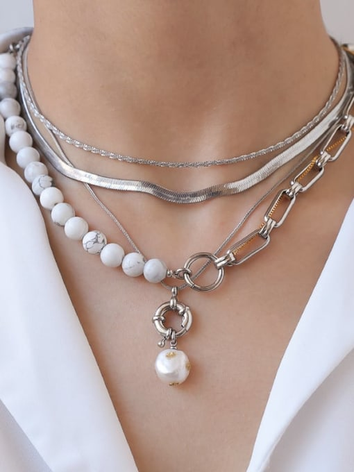 TINGS Brass Imitation Pearl Hollow Geometric Chain Hip Hop Multi Strand Necklace 2