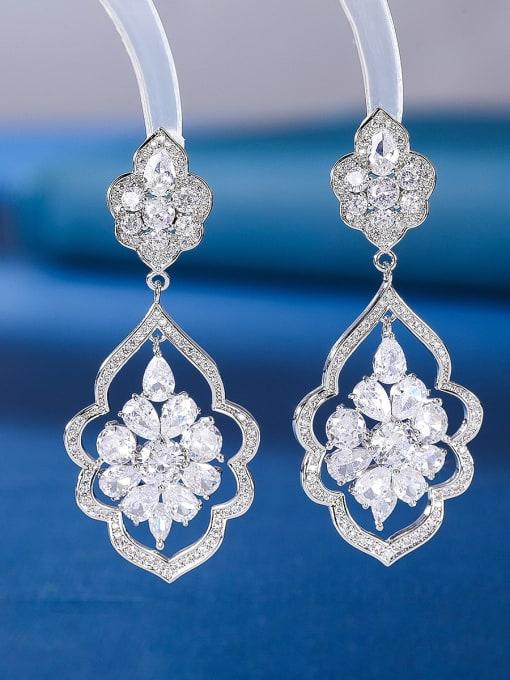 platinum Brass Cubic Zirconia Geometric Statement Drop Earring