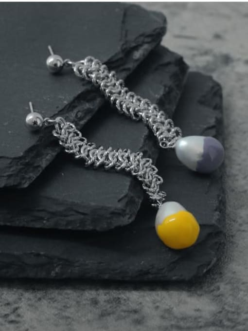 TINGS Brass Tassel Vintage Hollow asymmetric long chain Drop Earring 1