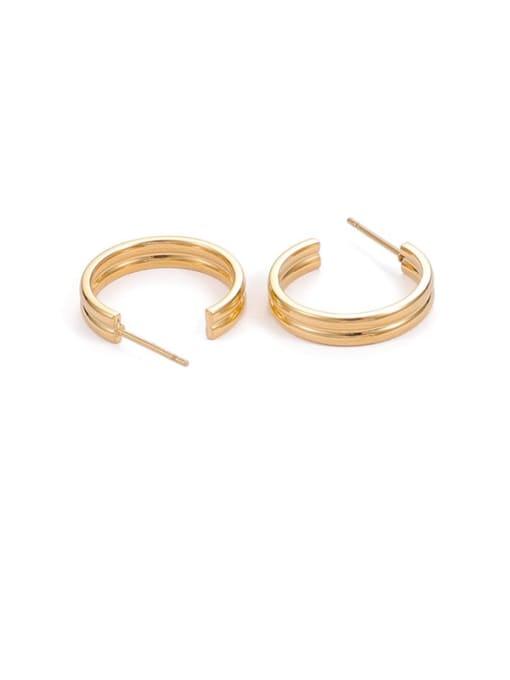 Gold 2-wire Titanium Steel Geometric Hip Hop Stud Earring
