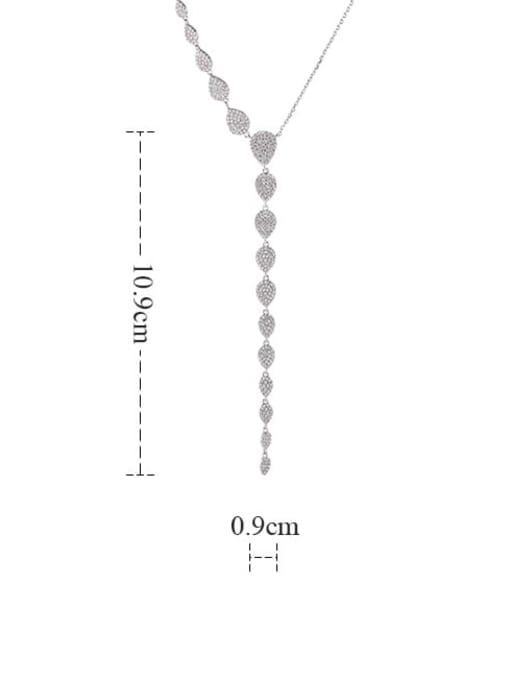 YILLIN Brass Cubic Zirconia Tassel Minimalist Tassel Necklace 2